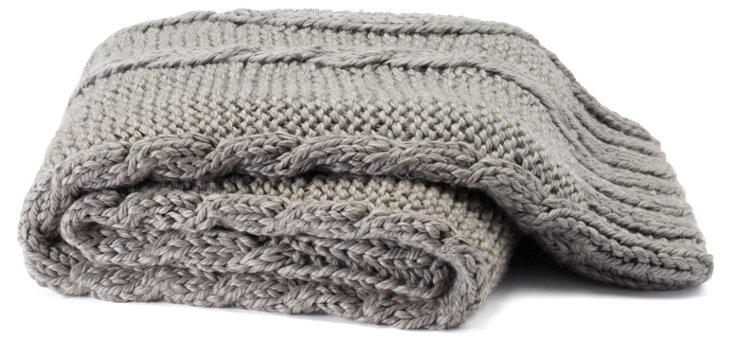 Hand-Knit Braided Throw, Gray