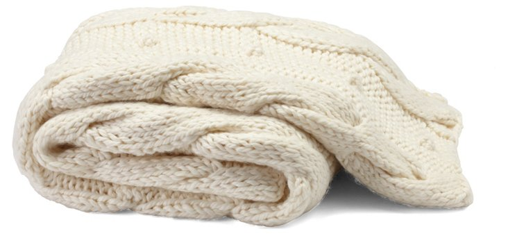 Hand-Knit Braided Throw, Ivory