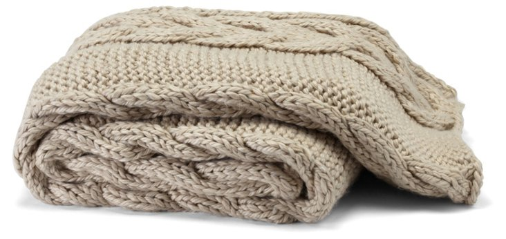 Hand-Knit Braided Throw, Camel