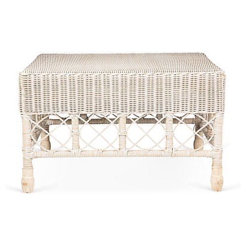 Classic Wicker Footstool, White