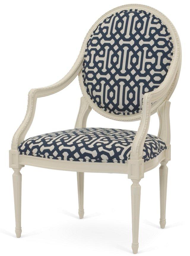Philippe Accent Chair, Indigo/Cream