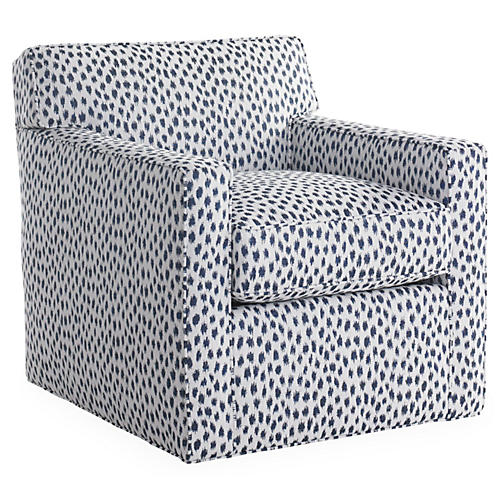 Kelton Swivel Chair, Navy Spot Sunbrella