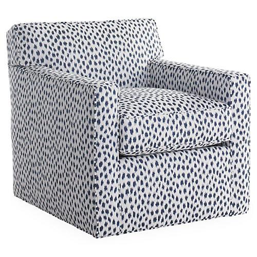 Kelton Swivel Chair, Navy Spot Sunbrella