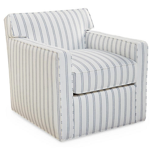 Kelton Swivel Chair, Striped Sunbrella