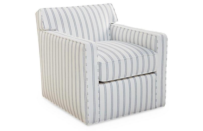 Kelton Swivel Chair, Striped Sunbrella