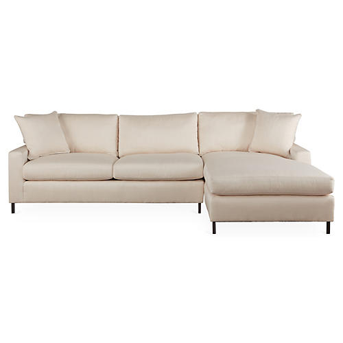 "Maison 113"" Sectional, White Sunbrella"