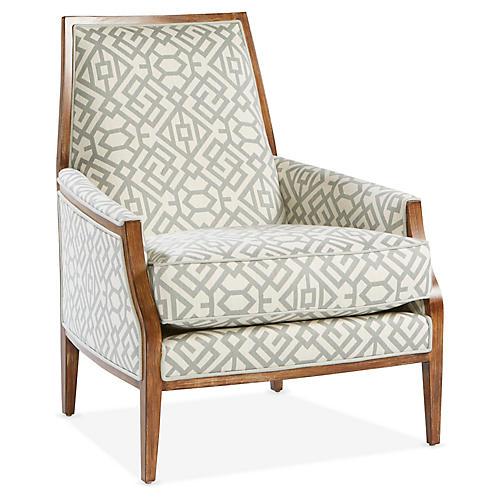 Bergen Accent Chair, Spa/Ivory Sunbrella