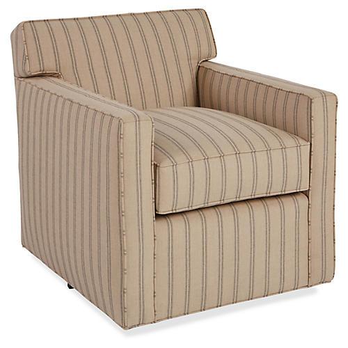 Kelton Swivel Club Chair, Tan Sunbrella