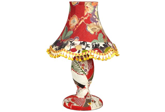Découpage Lamp w/ Patchwork Shade