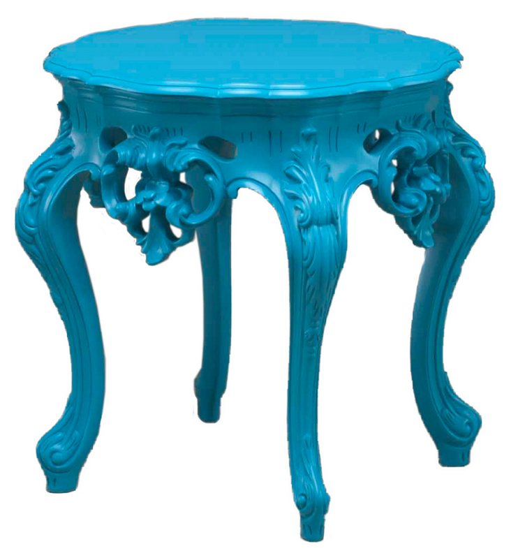 Versailles Outdoor Side Table, Blue