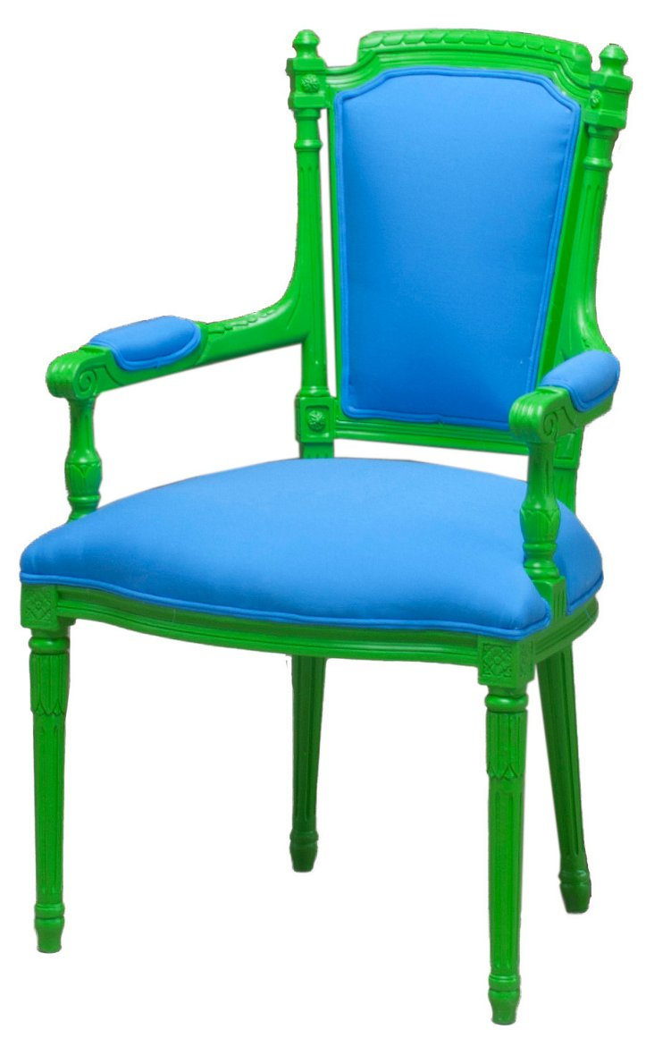 Belvedere Outdoor Armchair, Green/Blue