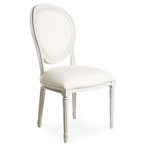 Melrose Outdoor Side Chair, White Sunbrella