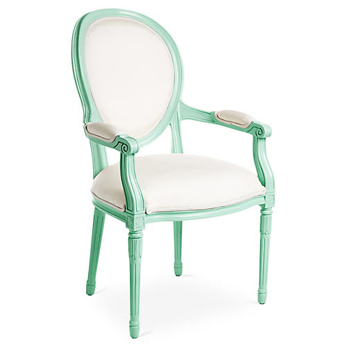 Melrose Outdoor Armchair, Mint/White Sunbrella