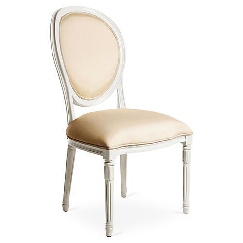 Melrose Outdoor Side Chair, White/Beige Sunbrella
