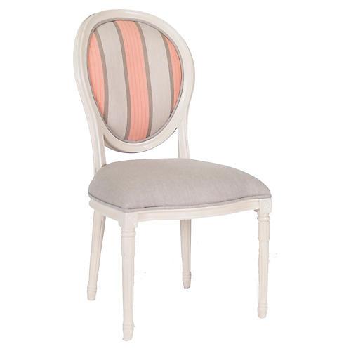 Melrose Outdoor Side Chair, Beige/Pink Sunbrella