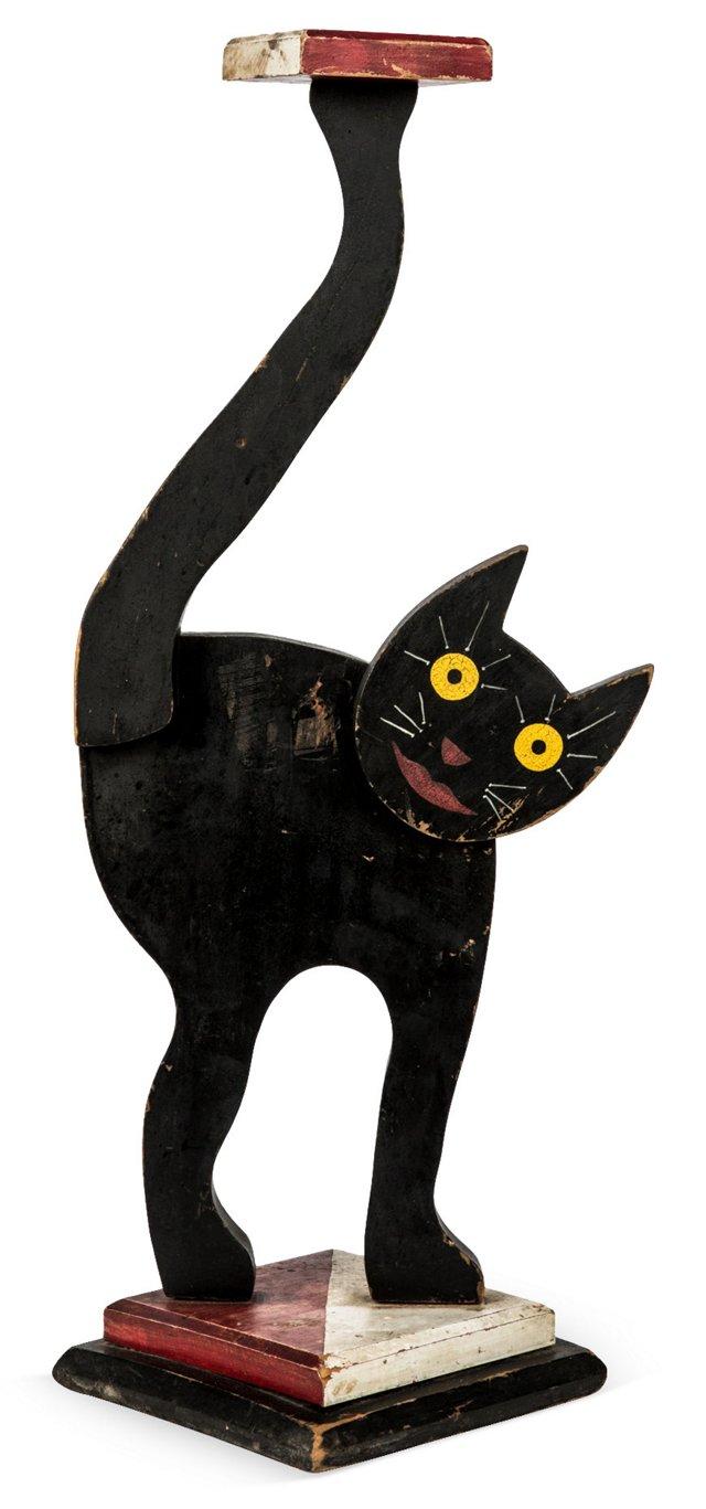 Wood Smiling Cat Candleholder