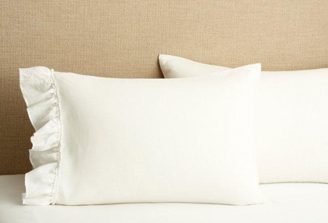 S/2 Ruffled Pillowcases, White