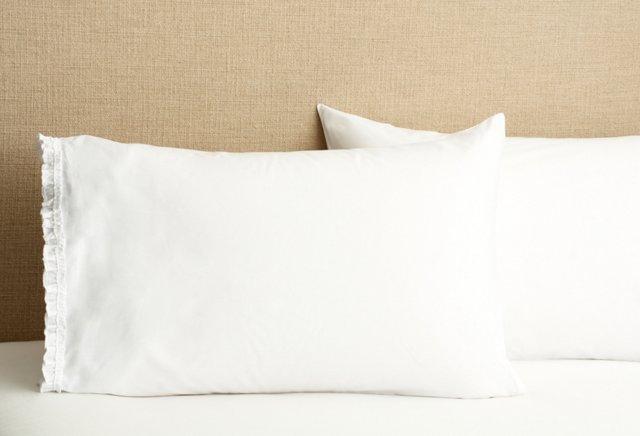 S/2 Petite Ruffle Pillowcases, White
