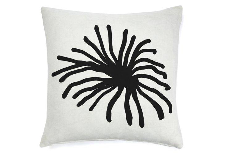 Spider Mum Abstract 22x22 Pillow, Black