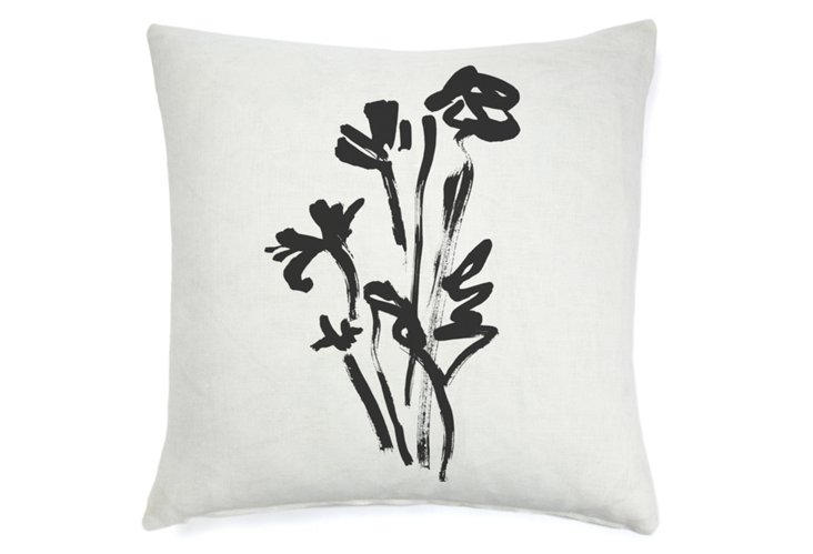 Rose Abstract 20x20 Pillow, Black
