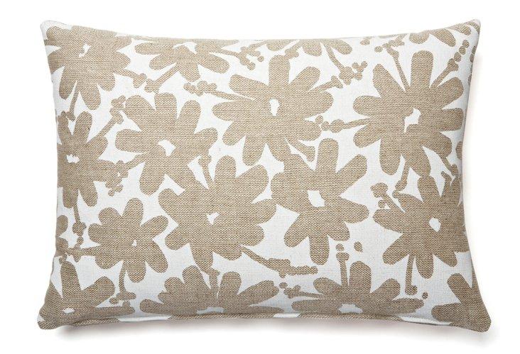 Daisy Allover 16x26 Pillow, White