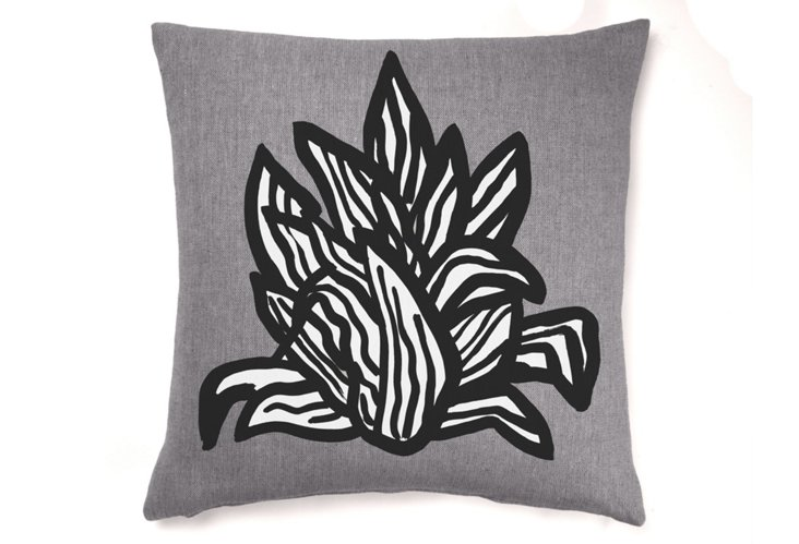 Succulent Sketch 22x22 Pillow, Slate