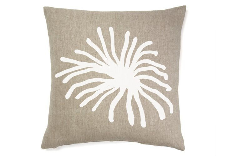Spider Mum Abstract 22x22 Pillow, White