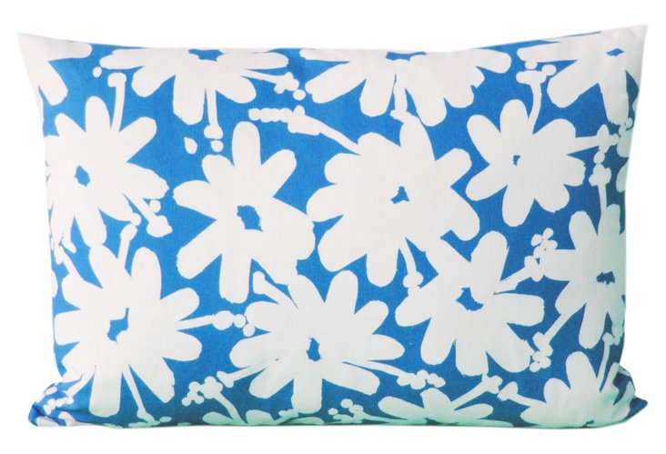 Daisy Allover 16x26 Pillow, Blue