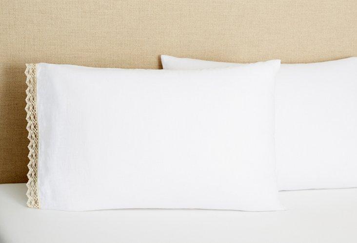 S/2 Linen & Crochet Pillowcases, Wh