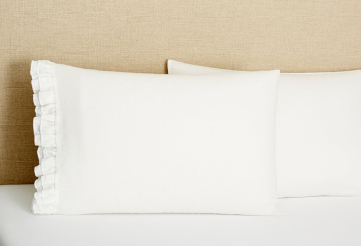 S/2 Double Ruffle Linen Pillowcases, Cr