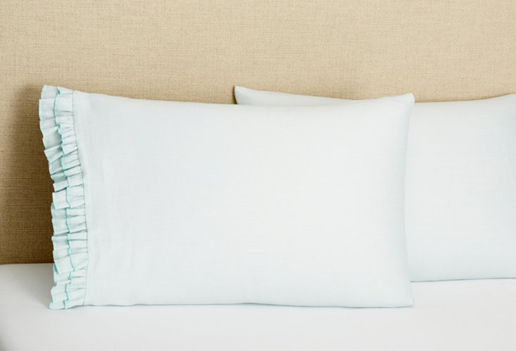 S/2 Double Ruffle Pillowcases, Blue