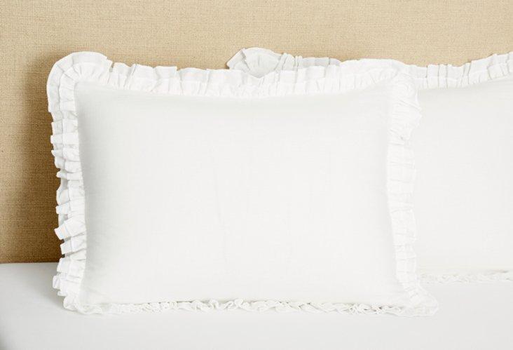 Double Ruffle Linen Sham, White