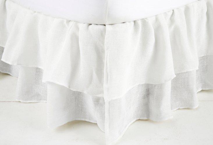 E Kg Double Ruffle Gauze Bedskirt, White