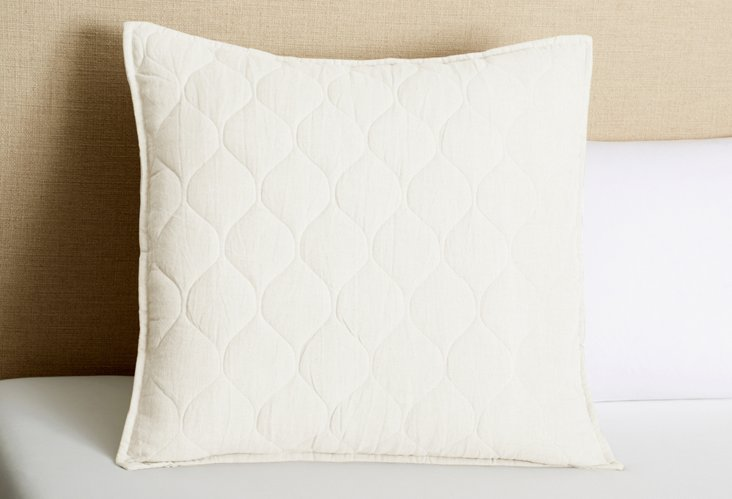 Diamond Quilted Euro Sham, Ecru