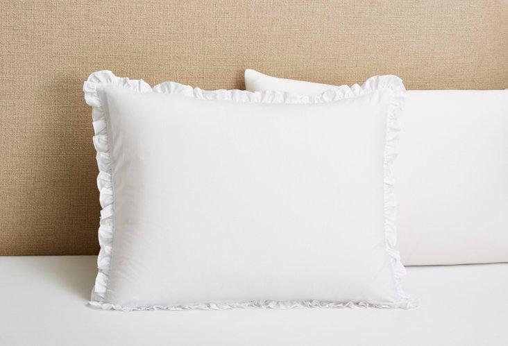 Poplin Petite Ruffle Sham, White