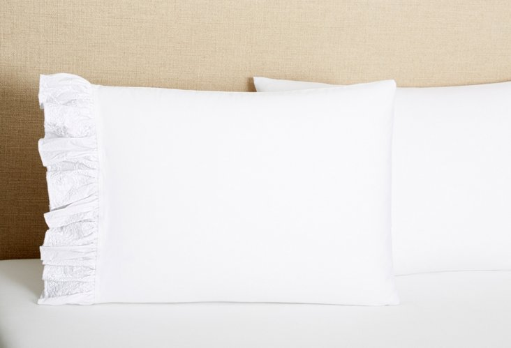 S/2 Poplin French Lace Pillowcases, Wh
