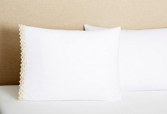 S/2 Poplin Crochet Edge Pillowcases, Wh