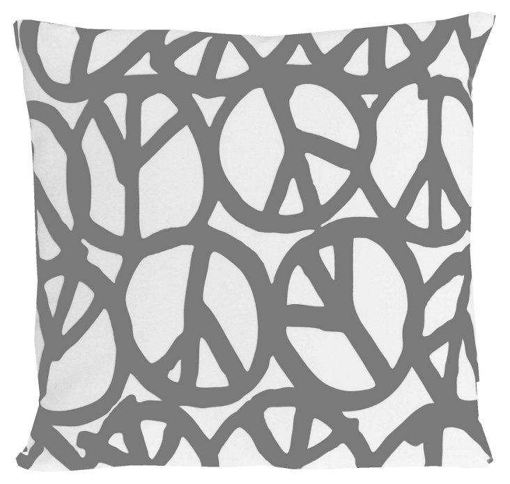 Peace 20x20 Pillow, Dark Gray