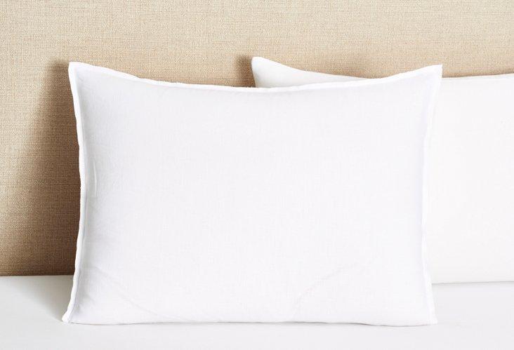 Raw Edge Linen Sham, Pure White