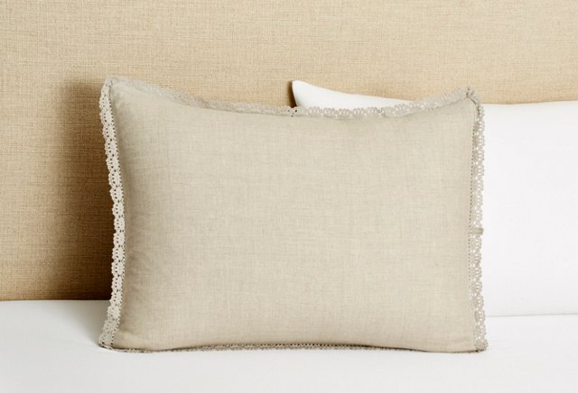 Crochet Edge Sham, Natural