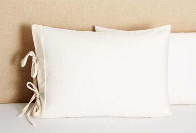 Velvet Long Tie Sham, Cream