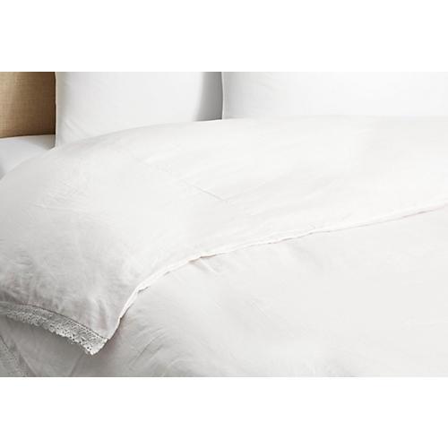 Linen & Crochet Duvet, White