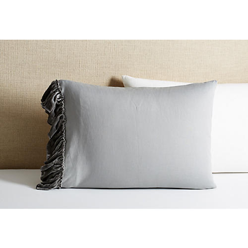 S/2 Velvet Ruffle Pillowcases, Gray