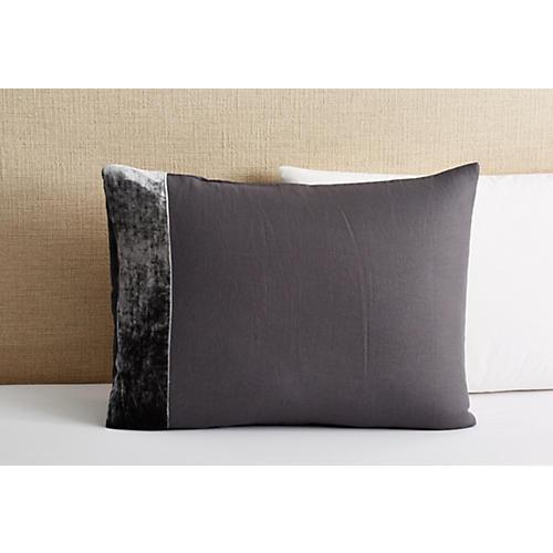 Velvet/Linen Sham, Gray
