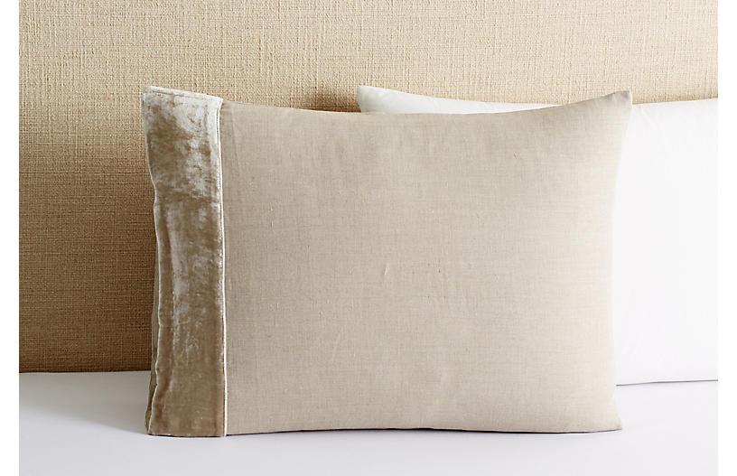 Velvet-Edge Linen Sham - Natural - Linen Salvage Et Cie