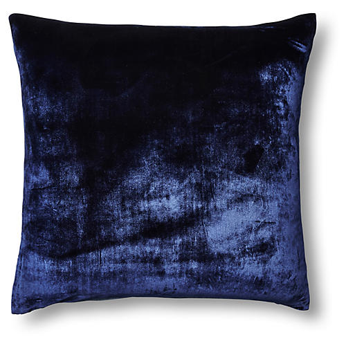 Silk Velvet/Chambray 22x22 Pillow, Navy