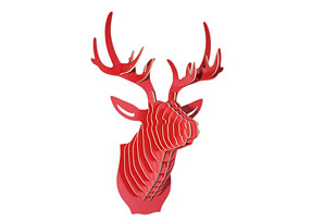 Wooden Deer Head, Red