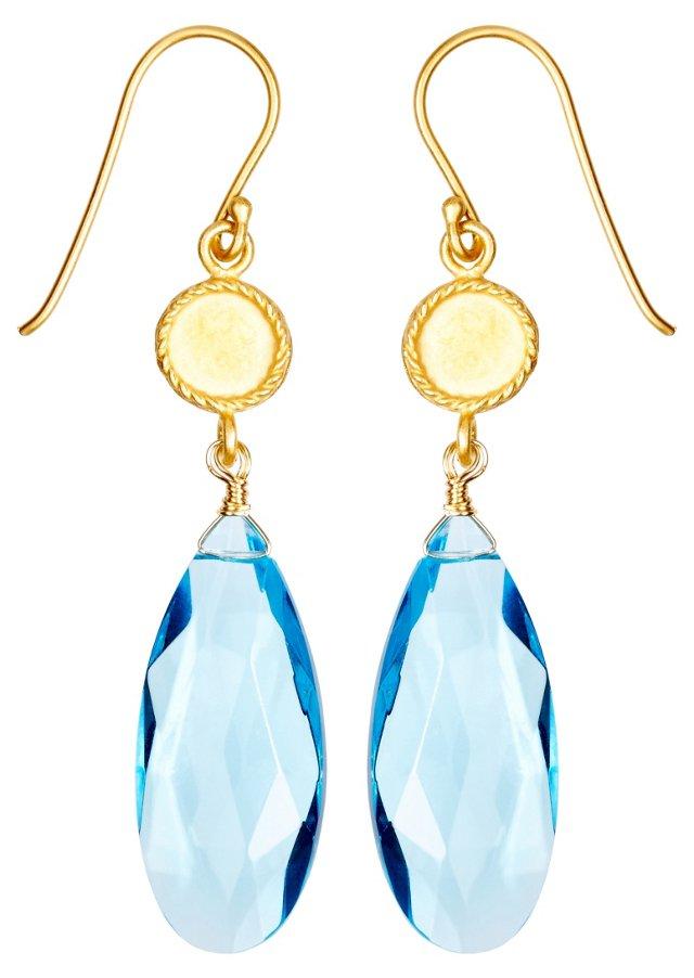 Blue Long Pear Shape Drop Earrings