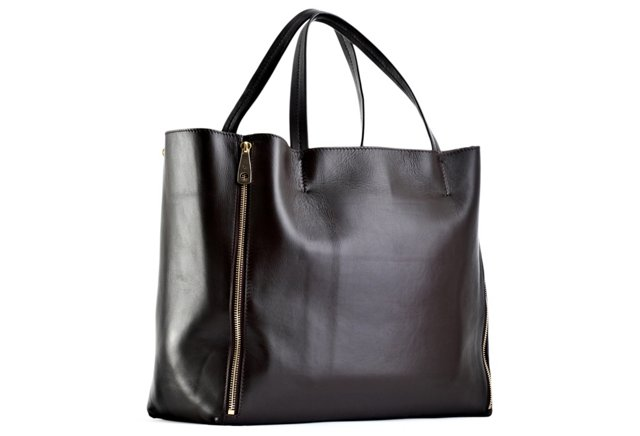 Expandable Leather Tote, Dark Brown