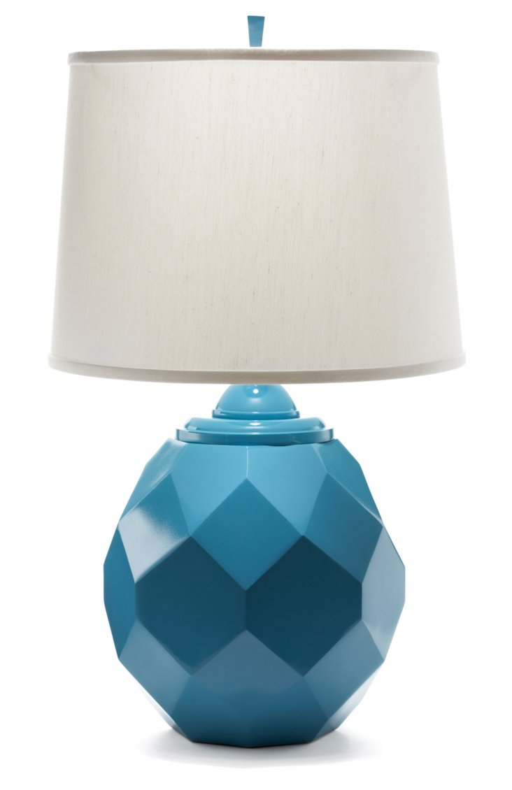 Jewel Table Lamp, Peacock Blue